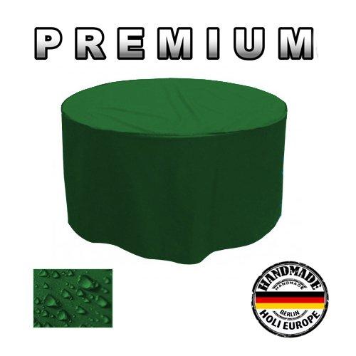 PREMIUM Gartentisch Abdeckung Gartenmöbel Schutzhülle RUND ø 215cm x H 90cm Tannengrün