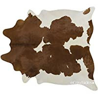 Brown White Brazilian Cowhide Rug Cow Hide Skin Leather Area Rug: LARGE