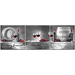 3 Pieces Modern Canvas Painting Wall Art The Picture For Home Decoration Red Grape Wine Barrel Bottle Goblet In Black White And Red Wine Print On Canvas Giclee Artwork For Wall Decor