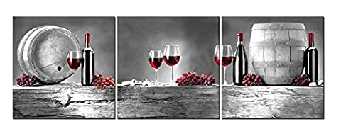3 Pieces Modern Canvas Painting Wall Art The Picture For Home Decoration Red Grape Wine Barrel Bottle Goblet In Black White And Red Wine Print On Canvas Giclee Artwork For Wall (Red And Black Canvas Art)