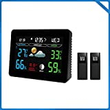 WEIWEI Thermometer Digital Hygrometer, Room Thermometer 12/24 Hour Time Clock, Temperature Humidity Monitor Home, Babyroom, Office, Greenhouse, Cellar, Black