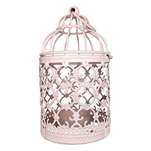 Tealight Holder,Vintage Candle Lantern Decorative Metal Candle Holders for Hanging or Table Top Home Decor Wedding Party Accessories,White,5.5 inch Height