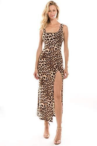 Onue Collection Women's Leopard Print Maxi Cocktail Dress with Slit, Medium, Leopard -