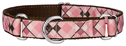 Country Brook Design Pink and Brown Argyle Ribbon Martingale Dog Collar - Large (Argyle Grosgrain Ribbon)