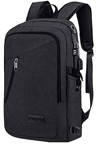 Yorepek Slim Laptop Backpack, Business Computer Backpack w/ USB Charging Port for Men Women,Anti Theft Travel daypack College Student Backpack,Water Resistant School Bookbag Fit 15.6 inch Laptop-Black