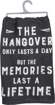 ''Hangover Lasts A Day'' Cotton Dish Towel - Set Of 3
