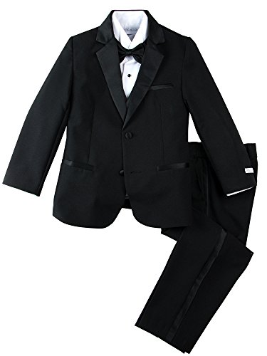 Spring Notion Big Boys' Modern Fit Tuxedo Set, No Tail 10 Black ()