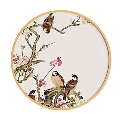 Orange-day Wall Art Pictures Chinese Style Solid Wood Round Decorative Painting Simple Modern Living Room Painting Restaurant Flowers and Birds 12 Open Mural,60cm,6