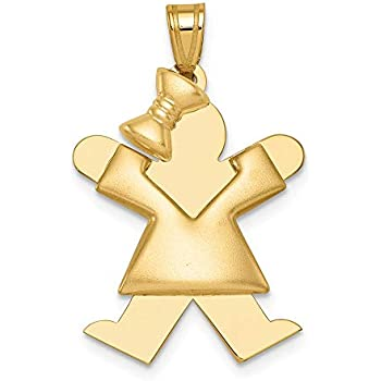 14k Two Tone Yellow Gold Large Girl Bow On Left Engravable Pendant Charm Necklace Disc Facing Fine Jewelry Gifts For Women For Her