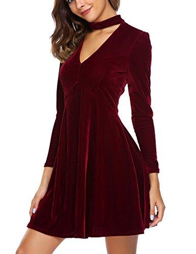 de Longues Soire Vintage Manches Robe Femmes Velours Vin Retro Au Cocktail Meaneor de Rouge Genou Robe ExwF0RqBg