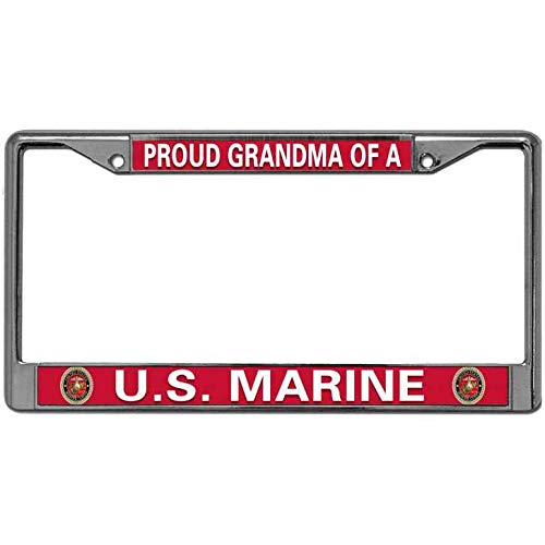 (Proud Grandma of A US Marine License Plate Metal Frame Anti-Flaking License Plate Tag Frame Love USMC Quote Chrome Plate Frame Auto License Plate Frame Holder for US Cars )