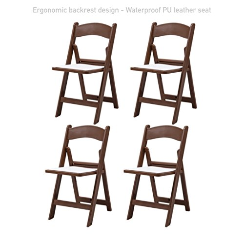 Modern Folding Plastic Dining Chair Durable PU Leather Padded Seat Comfortable Ergonomic Backrest Design Home Kitchen Living Room Office Furniture - Set of 4 #1732br by Koonlert@Shop