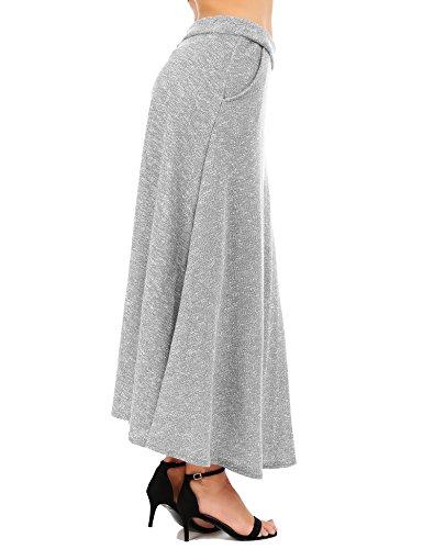 FISOUL aux Femmes Ancien Une Ligne Jupe vase Taille Haute Jupe Longue Jupe Midi Chute Hiver Gris
