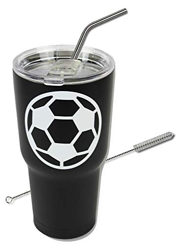 Soccer Tumbler Cup 30oz Gift for Mom Men Sports Travel Coffee Mug, Stainless Steel, Vacuum Insulated, Keeps Water Cold for 24, Hot for 12 hours (Soccer) -