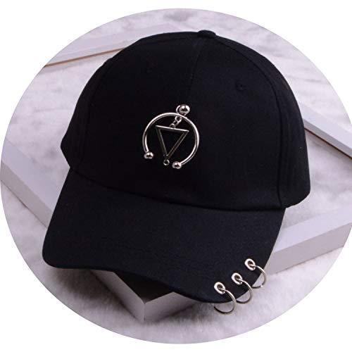 女性 リング野球帽 男性女性 白黒 野球の帽子,トライアングル2黒