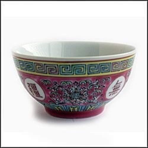 Oriental Red Pattern Rice Bowl