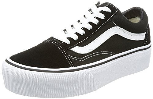 - Vans Womens Old Skool Platform Black White Canvas Trainers 6.5 US