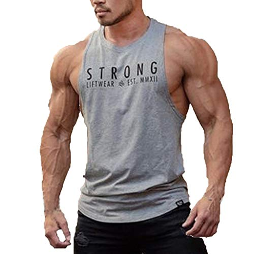 (Men Tank Top Sleeveless Bodybuilding Shirt Letter Printing Tee Singlet Fitness Sport Vest (S,)