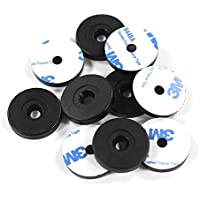 10 Black On-Metal NFC Disc Tags 29mm with 5mm Hole - NTAG213 Token with 3M Adhesive Backing, Compatible with All NFC Enabled Phones