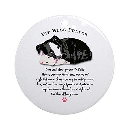 (Delia32Agnes Pit Bull Prayer Christmas Ornaments Porcelain Ceramic Round 3 Inches Ornament Christmas Tree Decorations)