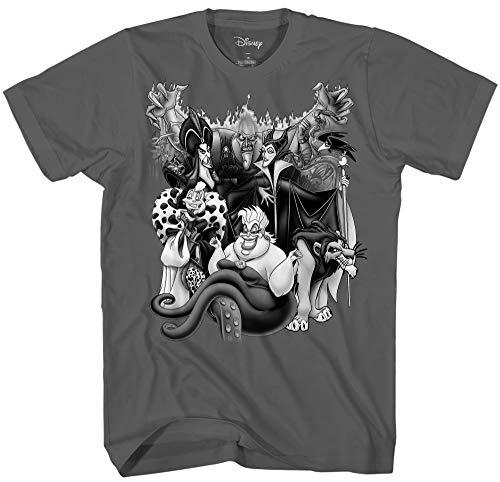 Disney Villains Team Men's Adult Graphic Tee T-Shirt (Charcoal, Large)