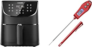 Cosori Air Fryer 5.8 QT and Meat Thermometer Red
