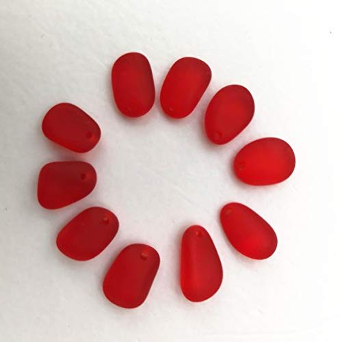 10 Pieces Top Drilled Sea Glass Beads/Beach Glass Beads Pendant for Jewelry Making Earrings Necklace Making (Red, Tiny(9-12 mm -