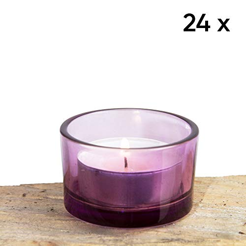 Chive - Lilac Purple Glass Tealight Candle Holder, 24 Bulk Pack Set for Weddings, Parties, Events and Home Decor Tea Light