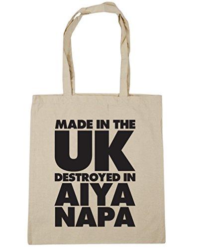 HippoWarehouse fabricado en el Reino Unido destruido en Aiya Napa bolsa de la compra bolsa de playa 42cm x38cm, 10litros Natural