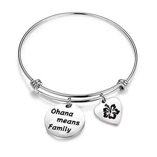 (ENSIANTH Ohana Means Family Bracelet Family Member Gift Hawaiian Bracelet Hibiscus Flower Jewelry (Ohana Bracelet))