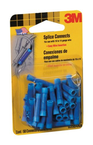 3M 3984 16 to 14-Gauge Wire Splice Electrical Connectors, Blue, 50 Per Pack