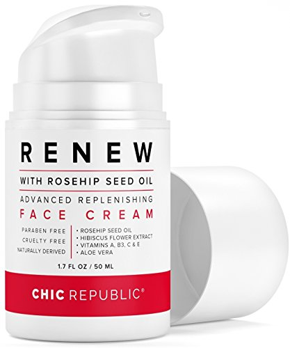 Daily Face Moisturizer with Rosehip Oil | Organic Face Moisturizer | Vitamin C, A and E, Aloe Vera, Hibiscus | For Sensitive, Oily or Dry Skin | Anti Wrinkle Hydrating Face Cream ()