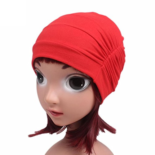 FEITONG Children Baby Girls Cotton Hat Beanie Scarf Turban Head Wrap Cap 3-8 years (Red) by FEITONG (Image #1)