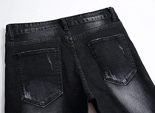Per Strappati Skinny Fori Working Distressed Con Uomo Pants Black Distrutti Jeans SqYYptzH