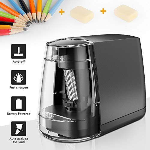 Electric Pencil Sharpener, Super Sharp and Fast ARCBLD Pencil Sharpener-battery operated (no cord), Heavy-duty Helical Blade to Fast Sharpen Perfect for School Classroom/Office/Home (Black)