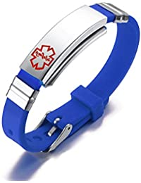 Free Engraving-Medical Alert ID Silicone Stainless Steel Adjustable Bracelet,Fits Adults & Kids,Blue