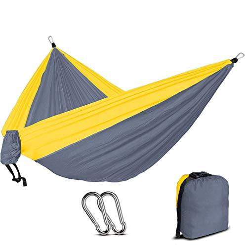 (Nylon Parachute Hammock Light Weight Outdoor Camping Portable Single Hammock with Hammock Ropes and Hammock Carabiners Light Grey Yellow)