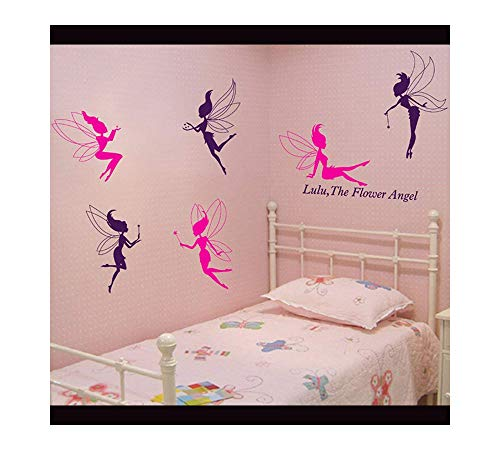 Flower Fairy Angel Pattern PVC Vinyl Wall Stickers Creative Clothing Dance Studio Decor Decals Nursery Children's Room Bedroom Living Room Home Decoration (style -