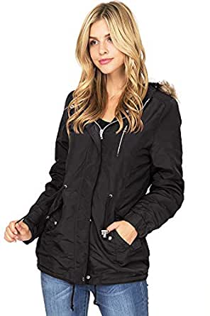 Ambiance Apparel Women's Hooded Sherpa Lined Jacket (S, Black)