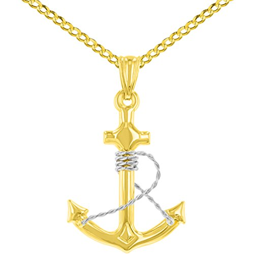 14K Two-Tone Gold Polished Navy Anchor with Rope Charm Nautical Pendant Cuban Chain Necklace, ()