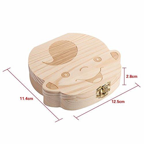 JZK® Imagen madera personalizado bebé dientes deciduous souvenir caja, Caja de dientes de leche, Regalo de bautizo / Regalo ducha de chico / Regalo de ...