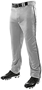 Boy's Champro Sports Youth Triple Crown Open Bottom Piped Pants, Grey, Black Pipe, X-Small