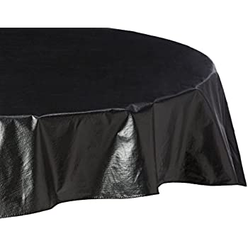 Carnation Home Fashions Vinyl Tablecloth With Polyester Flannel Backing,  70 Inch Round, Black