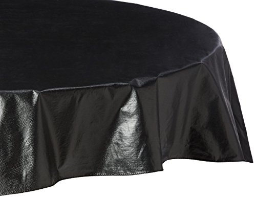 Polyester Lined Vinyl Cover (Carnation Home Fashions Vinyl Tablecloth with Polyester Flannel Backing, 70-Inch Round, Black)