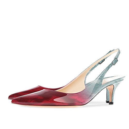 Onlymaker Women's Pointed Toe Slingback Sandals Ankle Strap Kitten Heels Pumps Evening Party Wedding Shoes 6.5CM red-sky Rbzhpy