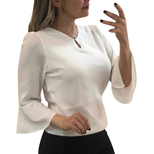 Qingell Waffle Knit Blouse Women Tunic Tie Knot Henley Tops Loose Fitting Knit Winter Blouse Tops Bat Wing Plain Shirts White