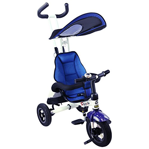 Costzon 4-In-1 Baby Tricycle, Detachable Learning Bike w/ Canopy Bag, Kids Steer Stroller (Blue)