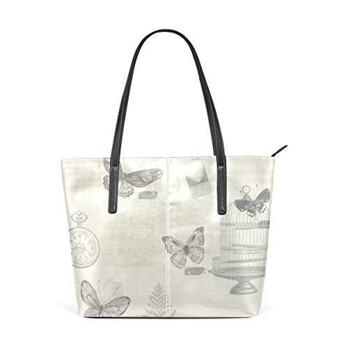 TIZORAX Purses Music Bags Dragonfly Handbag Birdcage Top Butterfly PU Notes Leaves Women's Fashion Shoulder Leather Handle Vintage Totes rTpqr