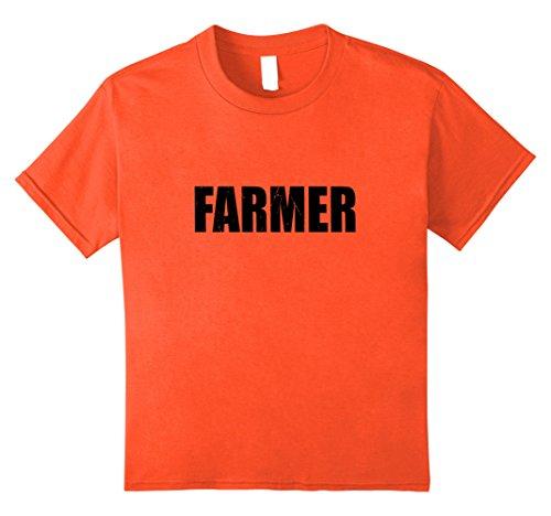 Farmer Girl Halloween Costume (Kids Farmer T Shirt Actor Halloween Costume Retro Distressed 10 Orange)
