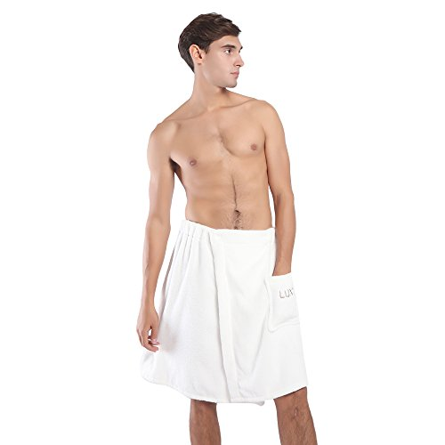 LLUTNY Men's Wrap Towel,Spa Shower Shorts and Cotton Bath Towel Wrap with Pocket and Snap ()